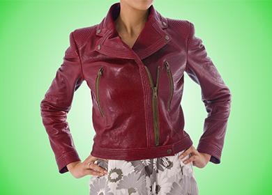 Бордовая кожаная куртка