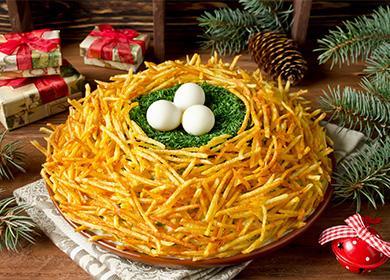 Салат с картошкой гнездо глухаря