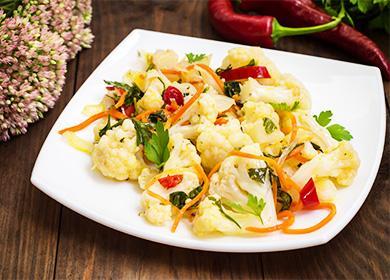 Рецепт цветной капусты по-корейски вдомашних условиях: 6вариантов пикантного блюда