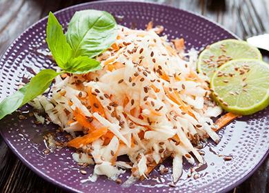 Салат изредьки (белой, черной, зеленой): мясные, фруктово-овощные исырные вариации