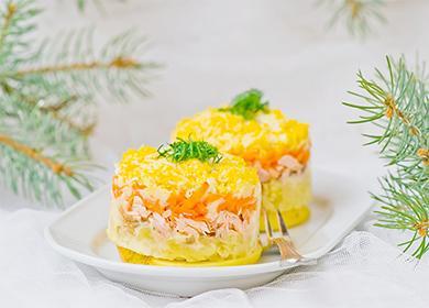 Салат «Мимоза» сконсервами, соленой рыбой, крабовыми палочками ипеченью трески: 12вкуснейших рецептов