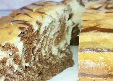 Торт (пирог) Зебра на кефире по пошаговому рецепту с фото