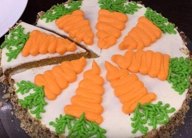 Морковный торт со сметанным кремом — очень прост в приготовлении