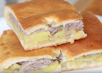 Сочный пирог с мясом и картошкой из дрожжевого теста