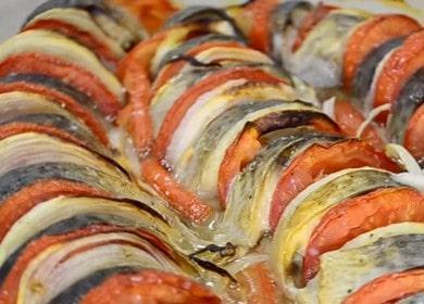 Рецепт скумбрии, запеченной в духовке с помидорами и луком
