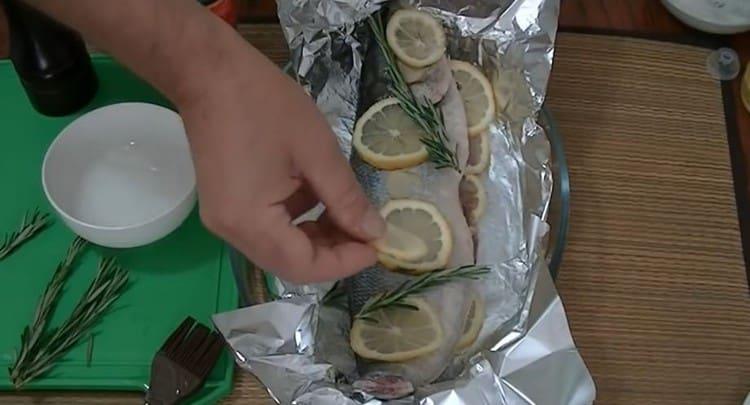 Поверх рыбы тоже раскладываем оставшийся лимон, имбирь и розмарин.