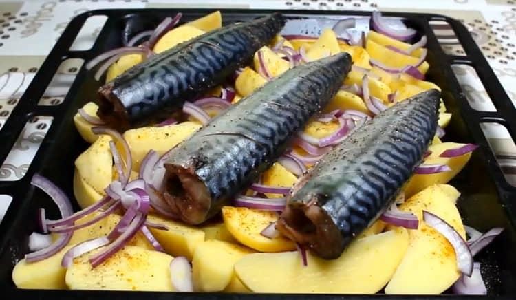 Поверх картофеля раскладываем лук, далее выкладываем рыбу.