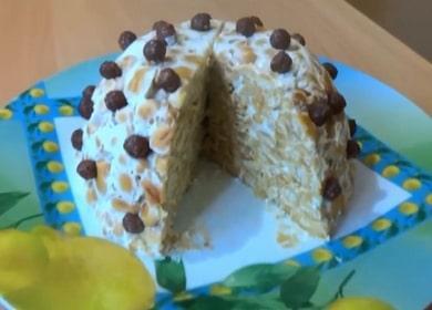 Легкий торт из печенья и сметаны без выпечки
