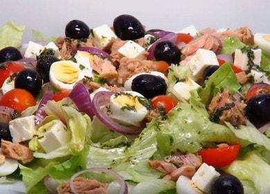 Очень вкусный рецепт салата с консервированным тунцом: готовим с пошаговыми фото.