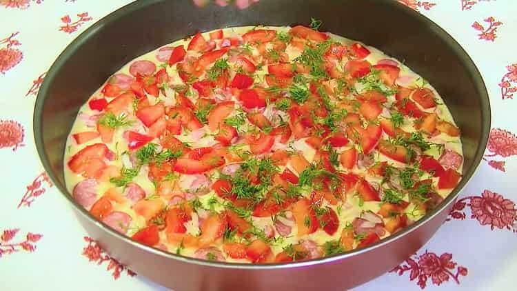 Для приготовления заливной пиццы в духовке, нарежьте зелень