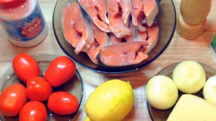Для приготовления стейков из горбуши, подготовьте ингредиенты