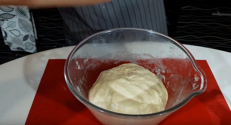Замешиваем мягкое тесто, оставляем его в теплом месте.
