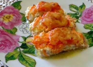 Сочная горбуша, запеченная под шубой из помидоров и сыра в духовке