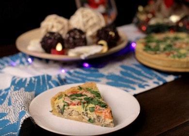 Киш с курицей и грибами — рецепт французского открытого пирога