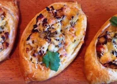 Лодочки из слоеного теста с курицей и картофелем — очень вкусно