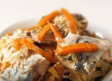 Вкусная скумбрия с овощами в банке в духовке