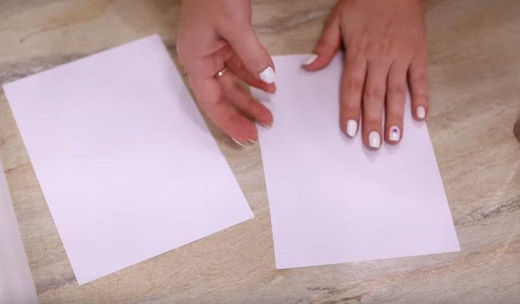 Листы формата А4 разрезаем пополам.