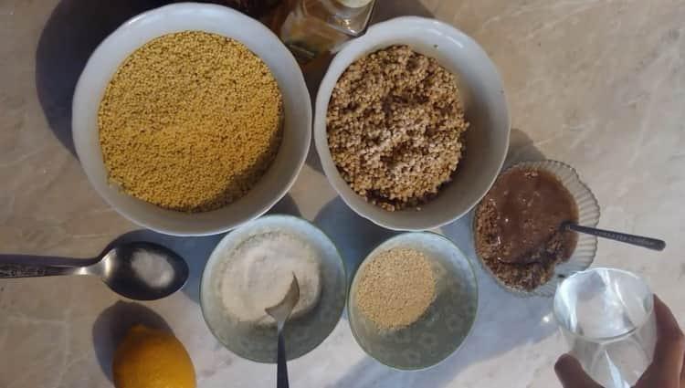 Для приготовления бездрожжевого хлеба подготовьте ингредиенты