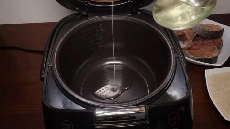 Для приготовления горбуши на пару, подготовьте чашу