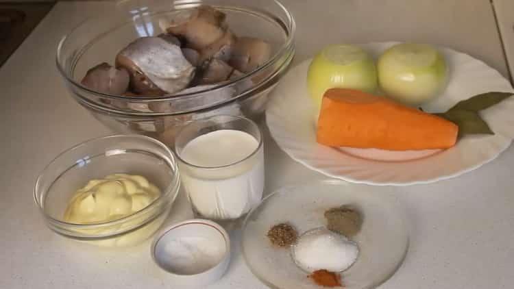 Для приготовления минтая, подготовьте ингредиенты,