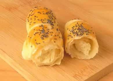 Вкусные пирожки из скороспелого слоеное тесто с творогом