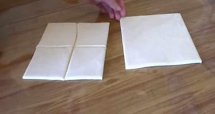 Для приготовления слойки из слоеного теста, подготовьте ингредиенты