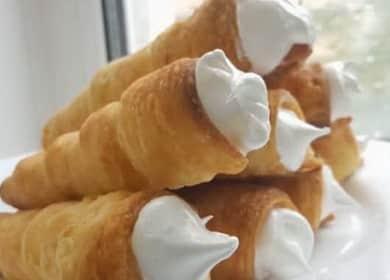 Трубочки с заварным белковым кремом — вкусный и простой рецепт