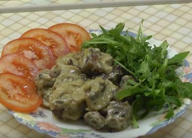 Готовим ароматный бефстроганов из говядины с грибами по пошаговому рецепту с фото.