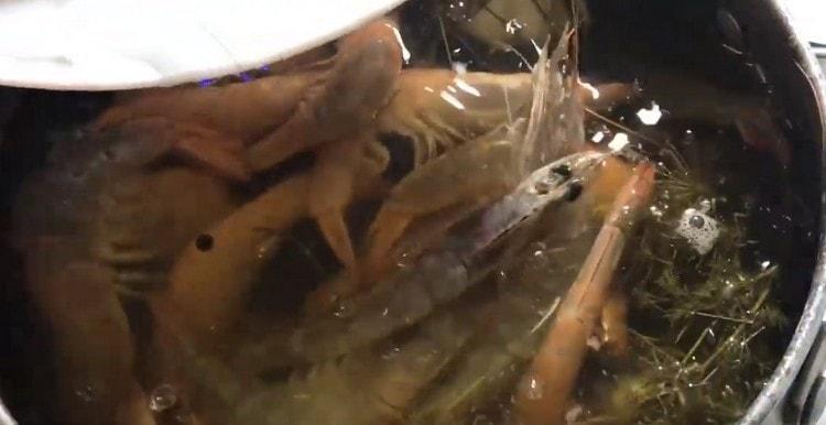 Выкладываем в кипящую воду креветки и варим минут 7.
