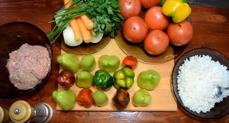 рис заранее отвариваем, все необходимые овощи моем и чистим.