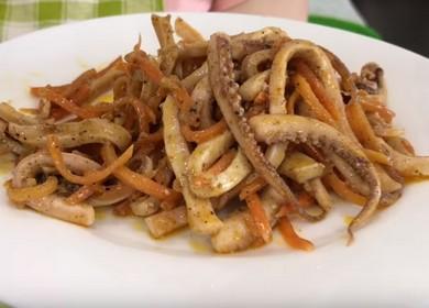 Салат с кальмарами и корейской морковкой — очень вкусная закуска 🦑