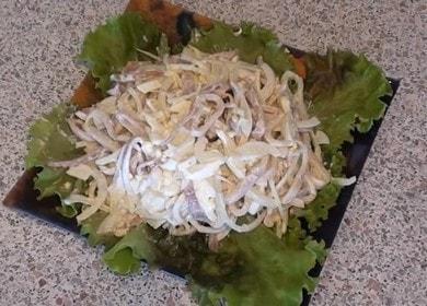 Нежный и воздушный салат с кальмарами — очень легкий рецепт 🦑