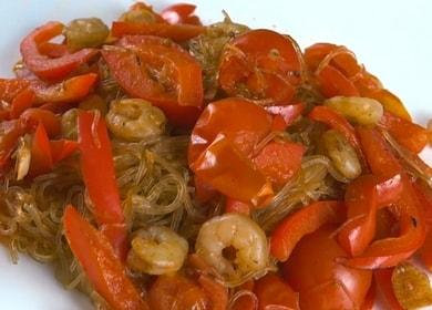Фунчоза с креветками — очень просто, быстро и вкусно 🍤