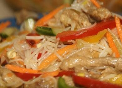 Готовим фунчозу с мясом и овощами по пошаговому рецепту с фото.