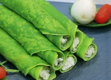 Зеленые блины со шпинатом по пошаговому рецепту с фото