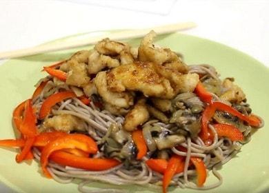 Гречневая лапша с курицей терияки — неверочтно вкусное блюдо 🍝