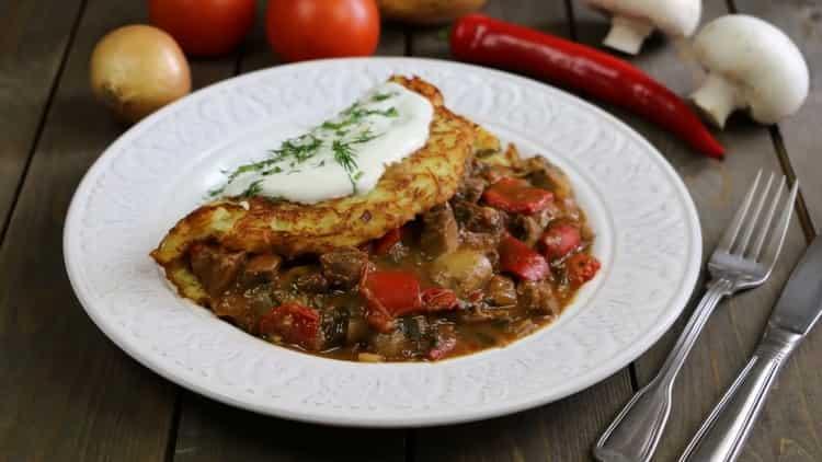 Драники с мясом по-венгерски по пошаговому рецепту с фото