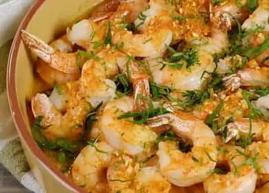 Запеченные креветки в духовке в чесночном соусе 🦐