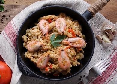 Вкусная испанская паэлья с креветками и курицей 🦐