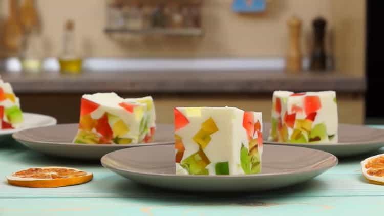 """Нежный торт """"Битое стекло"""" с желе и сметаной"""