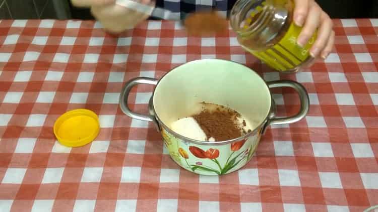 Для приготовления кекса подготовьте ингредиенты для поливки