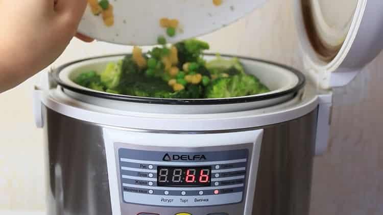 Для приготовления блюда, выложите ингредиенты в чашу