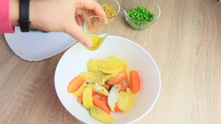 Для приготовления блюда, добавьте масло
