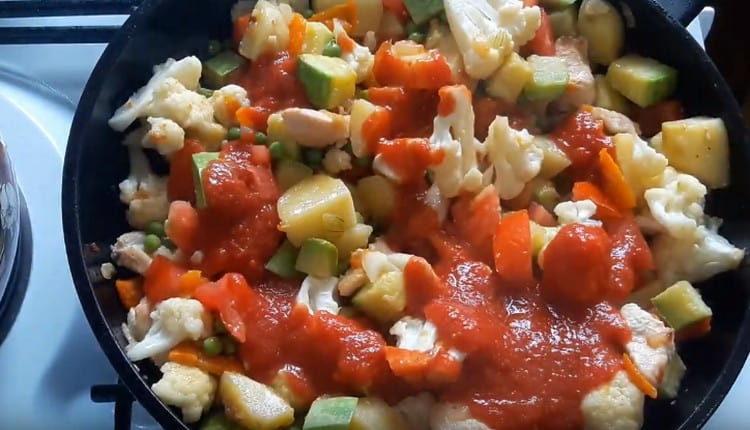 Добавляем горошек, помидор и томатный соус.