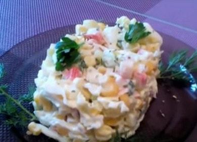 Как научиться готовить вкусный салат с капустой, крабовыми палочками и кукурузой 🥗