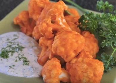 Цветная капуста в кляре в духовке — отличная закуска, очень полезная и вкусная 🥦