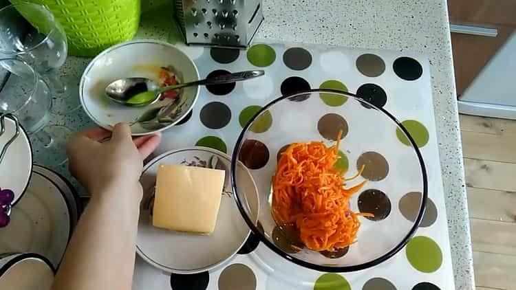 Готовим салат с корейской морковкой и крабовыми палочками