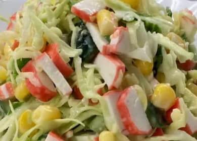 Салат с крабовыми палочками и капустой: пошаговый рецепт с фото 🥗