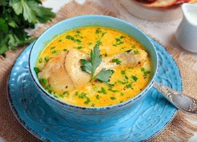 Рецепт вкусного сырного супа 🥝 с плавленным сыром и курицей