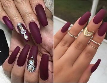 100 фото самых красивых 🥝 вариантов ногтей цвета марсала
